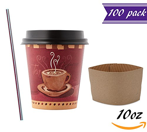 (100 Sets) 10 oz Disposable Coffee Cups with Dome Lids and Sleeves, BONUS Stirrers, Designed Paper Hot Cups with Travel Lids, To Go Coffee Cups for Latte, Cappuccino, Tea, Chocolate by Tezzorio Disposable