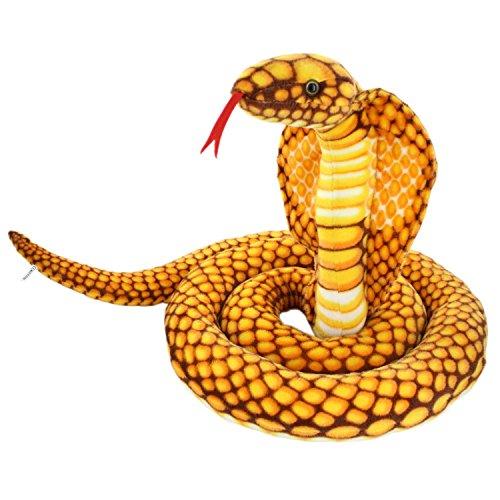 """JESONN Realistic Giant Stuffed Animals Naja Nivea Cape Cobra Plush Toys Snake,98"""" Long,1PC"""