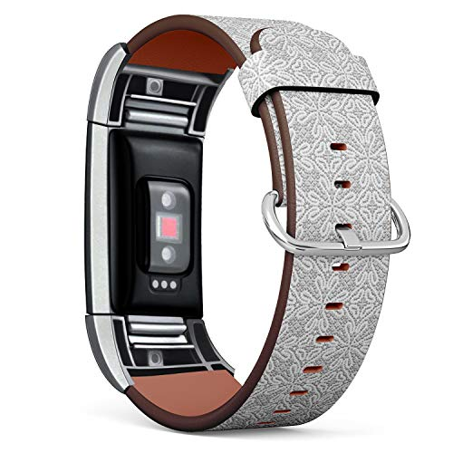 Compatible with Fitbit Charge 2, Leather Wristband Bracelet with Stainless Steel Clasp and Adapters -Vintage Greymade Tatting