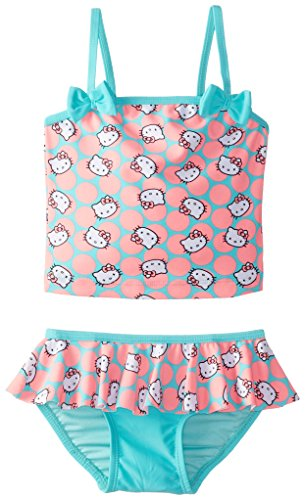 Hello Kitty Little Girls' Toddler Sweet Dreams Tankini Set, Coral, 3T