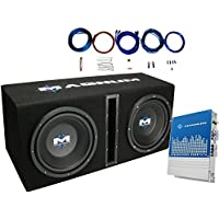 MTX MB210SP Dual 10 400 Watts RMS Loaded Subwoofer Enclosure With Mono Block Amplifier and 8 Ga. Amp Wiring Kit ( 1200 Watts MAX Power )