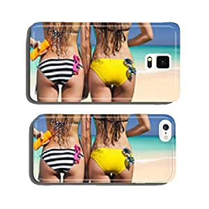 Two women wearing bikini on tropical beach cell phone cover case Samsung S5
