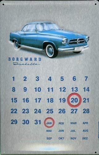 - PXFD Borgward Isabella Kalender Blechschild Calendar Metal Tin Sign 20 x 30 cm