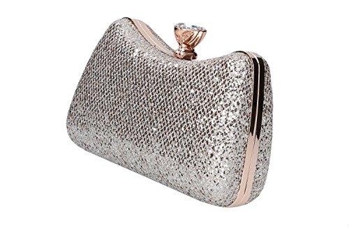 Bolsa mujer MICHELLE MOON pochette oro de mano de ceremonia + strass N920