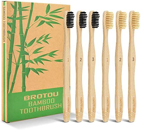 BROTOU Bambus Zahnbürste Holzzahnbürste, 6Pcs BPA-freie Bambus Zahnbürsten, vegan, biologisch abbaubare Holzzahnbürsten, natürlich, umweltfreundlich für gesunde weiße Zähne