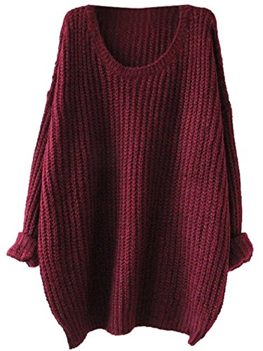 Red Pullover Sweater - SweatyRocks Women's Embroidered Flower Oversized Knit Casual Loose Pullover Sweater (One Size, Red)