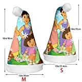 Christmas Santa Hat for Holiday Christmas Party with Dora The Explorer Printed, for Adults & Kids