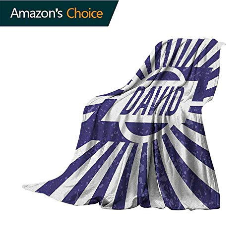Cheap David Weighted Blanket Adult Boys Birthday Theme Retro Style Graphic Letters on Grungy Navy Color Stripes Weighted for Adults Kids Better Deeper Sleep 70