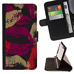 For Samsung Galaxy S6 EDGE (NOT S6) Plus / S6 Edge+ G928 Case , Labios Amor Negro Púrpura Rojo Oscuro- la tarjeta de Crédito Slots PU Funda de cuero Monedero caso cubierta de piel