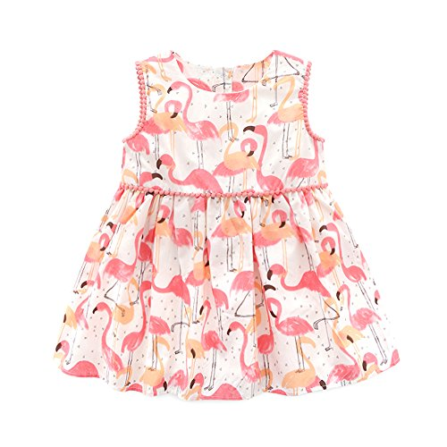 Top and Top Infant Baby Girls Pink Flamingo Printed Sleeveless Vest Princess Dresses Casual Clothes Outfit (90/12-18 Months) Infant Toddler Pink Apparel