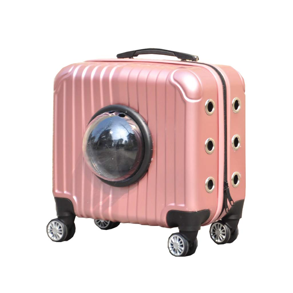 LWZ-Backpack Pets Trolley Carrier Case Breathable Luxury Travel Pet Bag Strollers(Pets up to 16 Pounds)(33cmX39cmX22cm) Pink