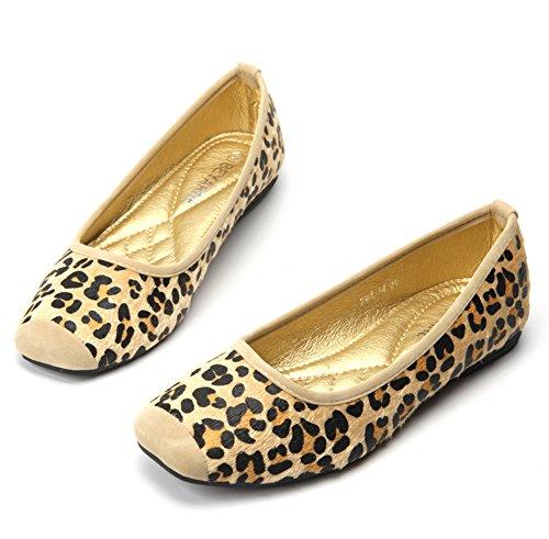 Easemax Womens Causale Retro Leopard Print Vierkante Teen Laag Uitgesneden Flats Schoenen Geel