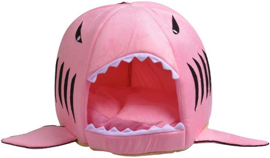 猫の部屋四季普遍的なかわいいサメの巣冬暖かい猫の巣閉じた犬小屋コンフォート猫のベッド猫用品2 Kgペットマルチカラーオプション (色 : ピンク) ピンク