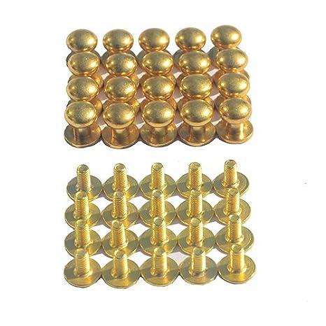 20 Sets CrazyEve Round Head Rivet, Wallet Luggage Handbag Belt Backscrews Size 10x8x9mm Copper Back Fasteners Screws (Golden) CS0528-1