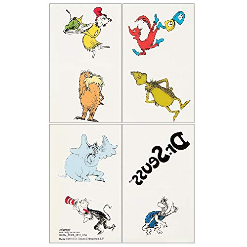 Amscan Dr. Seuss Tattoos, Birthday Party Supplies and Favors, 8 tattoos, 1 Sheet