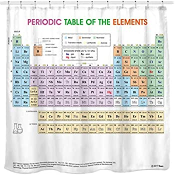 Amazon periodic table shower curtain eva vinyl the official updated periodic table of elements shower curtain pvc free odorless non toxic fabric urtaz Images