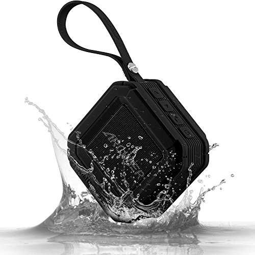 Archeer A106 Outdoor Portable Bluetooth Speakers with Microphone, Powerful 5W Driver with Enhanced Bass, 20 hour Playtime, for Shower/Sports - Black