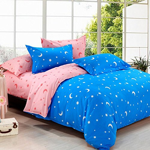 RoseBlue by Risa 4pcs Bedding Suit Polyester Fibre Star Moon Reactive Printed Bedding Sets (Minecraft Sheets For Double Bed)
