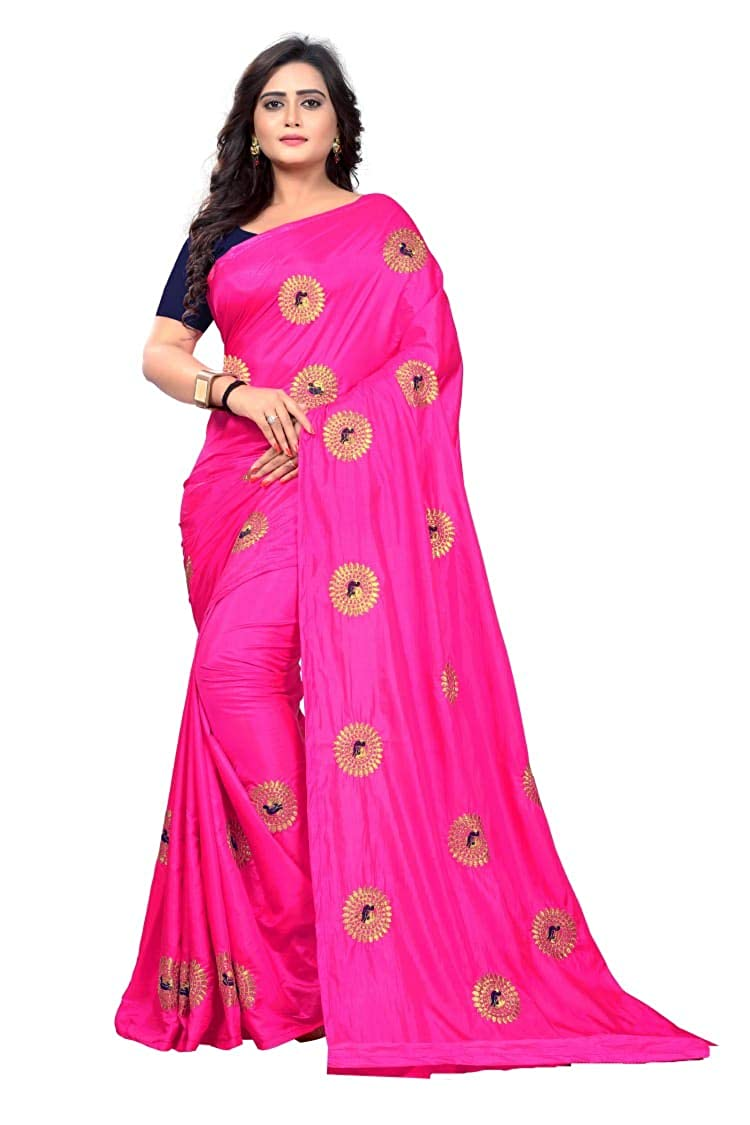 0d5d39855bec Varudi Fashion Women's Embroidered Paper Silk Saree With Blouse Piece  (orange): Amazon.in: Clothing & Accessories