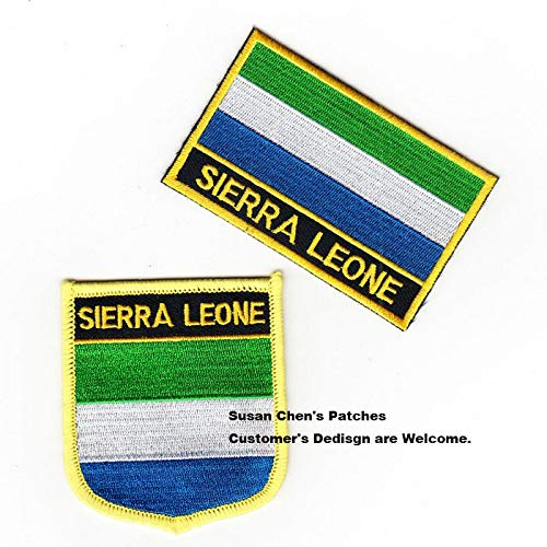 (Sierra Leone Flag Patch Patchwork Needlework Sewing Patches Embroidered Embroidery National for Clothes Handmade DIY Craft Decoration Pt-0153-2)