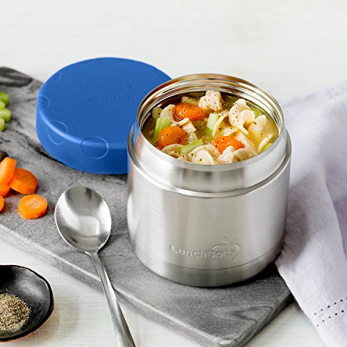 LunchBots Wide Thermal 16 oz. All Stainless Steel Bowl - Insulated Food Container Stays Hot 6 Hours or Cold for 12 Hours - Leak Proof Soup Jar for Portable Convenience - Blue by LunchBots (Image #6)
