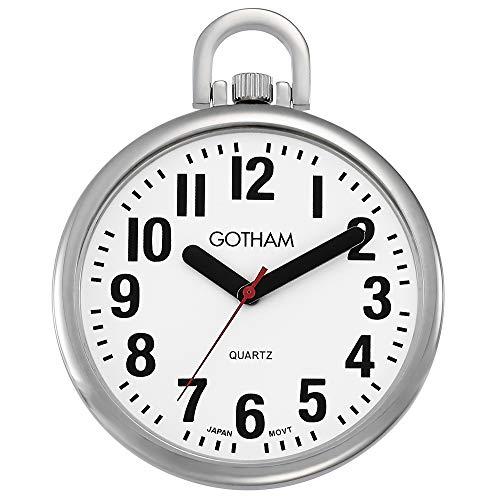 Gotham Men's Silver-Tone Ultra Thin Bold Number Open Face Quartz Pocket Watch # GWC15033S