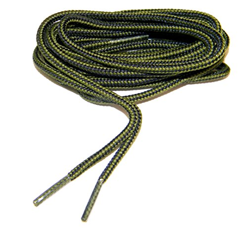 Olive Green - Black proBOOT(TM) Boot Round Rugged Wear Shoelaces - (2 Pair Pack) (60 Inch 152 cm)