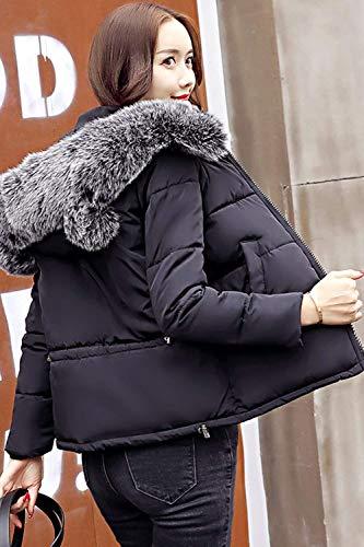 Larga Con Cuello De Abrigos Piel Cremallera Hipster Negro Bolsillos Capucha Laterales Plumas Mujer Outwear Invierno Retro Corto Moda Capa Manga fBqdPwf