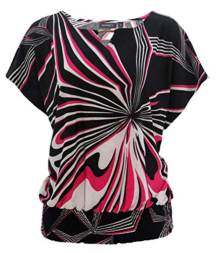 BENANCY Womens Batwing Banded Bottom Shirring Dolman Tops Tshirt B/Fuchsia ()