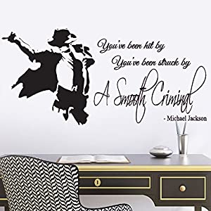 Michael Jackson Smooth Criminal Lyrics Music Quote Lounge Living Room  Hallway Bedroom Wall Sticker Wall Decal Wall Art Vinyl Wall Mural   Regular  Size Part 11