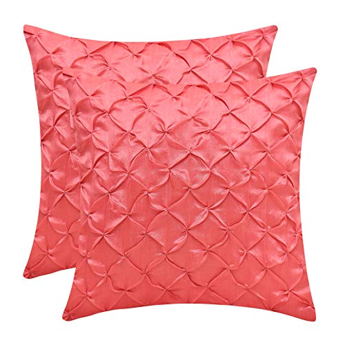 - The White Petals Coral Euro Pillow Covers (Faux Silk, Pinch Pleat, 26x26 inch, Pack of 2)