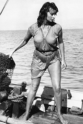 Sophia Loren Boy On A Dolphin Wet T-Shirt Dress Leggy Barefoot Icon 18x24 Poster