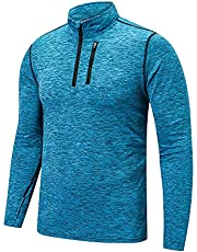 KAMINAM Men's Sun Protection Long Sleeve Fishing Shirts Slim Fit Quick Dry Quarter Zip Tops Hoodie with Pockets