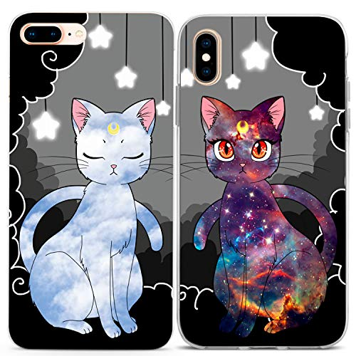 Lex Altern iPhone Case Xs Max Xr X 10 8 7 6s Plus 6 SE 5s 5 Luna Cats Matching Clear Gift Silicone Cover Sailor Moon Cute Best Friend Protective Anime TPU Galaxy Anniversary Phone Girl Print Flexible