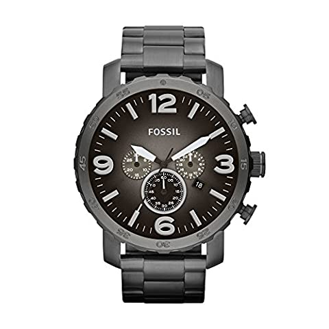 Fossil Men's JR1437 Nate Chronograph Smoke Stainless Steel Watch (Fossil Watchs Nate)