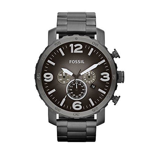 Fossil Men's Nate Quartz Stainless Steel Chronograph Watch, Color: Gunmetal (Model: JR1437)
