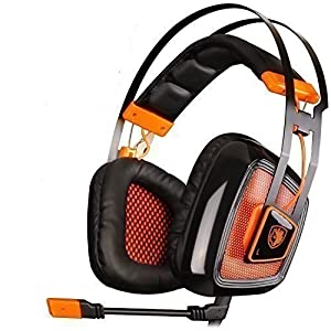 SADES A8 Over Ear PC USB 7.1 Surround Sound Gaming Headset Headband Headphones with Microphone, Vibration Noise Reduction LED Light (Black Orange)