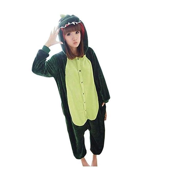 FlowerKui Mujeres para Hombre Adulto Unisex Franela Animal Onesies Pijama para Dormir Dinosaurio Talla M para la Ropa de Moda (Color : Green, ...