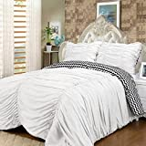 3 Piece Queen Size Solid White Embroidered Ruched Ruffle Wrinkle Reversible Chevron Pattern Comforter Set Teen Girl Bedding Vogue Bedspread College Teenager Room Dorm Young Adult Bedset Pretty Fashion
