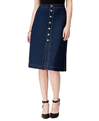4b1049e084f Style   Co. Petite Button-Front Denim Midi Skirt at Amazon Women s ...