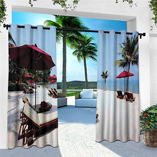 - leinuoyi Seaside, Outdoor Curtain Set, Beach Chair Umbrella Palm Trees Vacation Resort Sand Summer Sky, for Patio Furniture W108 x L108 Inch Maroon Pale Blue and Ivory