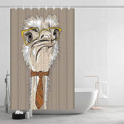 TecBillion Indie Comfortable Shower Curtain,Sketch Portrait of Funny Modern Ostrich Bird with Yellow Eyeglasses and Tie for Showers Stalls and Bathtubs,43.31