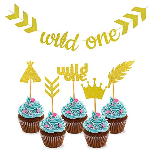 SAKOLLA Gold Glitter Tribal Boho Wild One Party Banner and Cupcake Toppers for Birthday Party, Baby Shower - 26Pcs