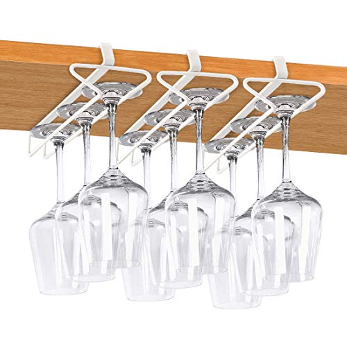 Wine Glass Rack, Under Cabinet Stemware Holder Metal White Under Shelf Wine Glasses Rack for Bar Kitchen, Pack of 3