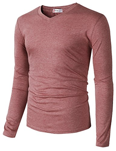 - H2H Mens Casual Canvas Unisex Jersey 3/4 Sleeve Baseball Tee HEATHERRED US S/Asia M (CMTTL0107)