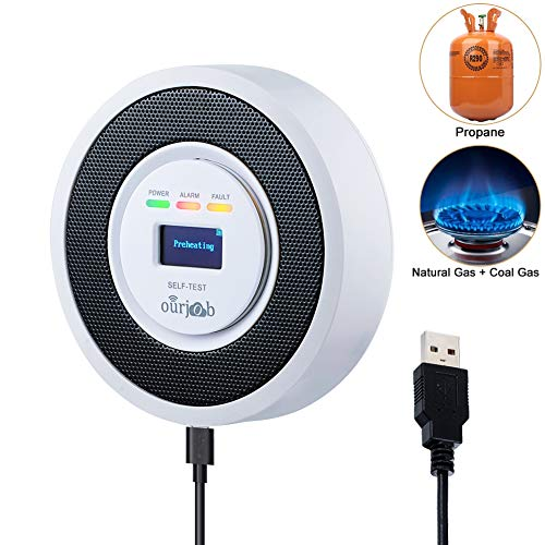 - ourjob OJB-RQ706-Y Natural Household LPG/Coal Combustible Leak, Propane Butane Methane Gas Detectors Alarm, USB Powered, Digital Display, Sound Light Warning (White)