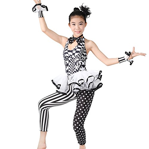 MiDee Halter Unitards Jazz Character Performance Dance Costume Pattern Print Polka Dot Ruffles Sleeveless (MA, (Childrens Dance Costumes Patterns)