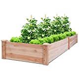 "raised planter box plans Giantex Raised Garden Bed Planter, Wooden Elevated Vegetable Planter Kit Box Grow for Patio Deck Balcony Outdoor Gardening, Natural (96""X24""X10"")"