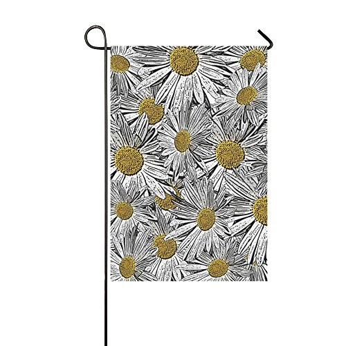 Invitation Daisy (XINGCHENSS Home Decorative Outdoor Double Sided White Yellow Daisy Flower Invitation Garden Flag,house Yard Flag,garden Yard Decorations,seasonal Welcome Outdoor Flag 12 X 18 Inch Spring Summer Gift)