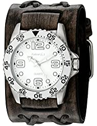 Nemesis Mens 097VDXB-W White Groovy Series Faded Black Double X Leather Cuff Band Analog Display Japanese Quartz...